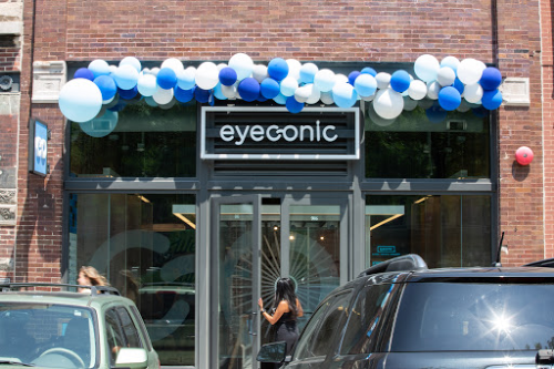 eyeconic storefront with balloons